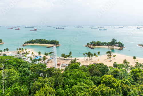 Aerial view of tropical beach in Sentosa island