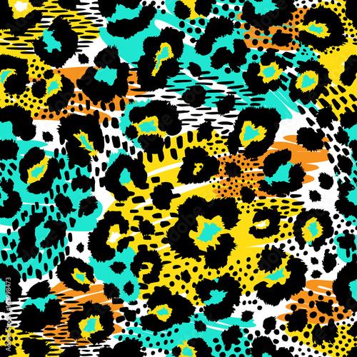 Cotton fabric Seamless leopard wild pattern. Vector animal print.
