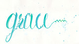 Grace calligraphy design by water color hand lettering in blue green color on white color of paper. - 163002071