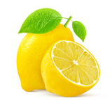 Lemon with leaves on white background - 163002849