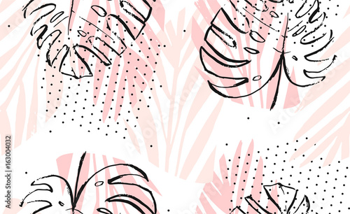 Hand drawn vector abstract artistic freehand textured tropical palm leaves seamless pattern in pastel colors with polka dots texture - 163004032