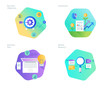 Material design icons set for business plan and objectives, market research, investment. UI/UX kit for web design, applications, mobile interface, infographics and print design.