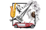 Coffee cup with a spoon and the Eiffel tower. Saxophone and a retro car. Hand drawn vector.