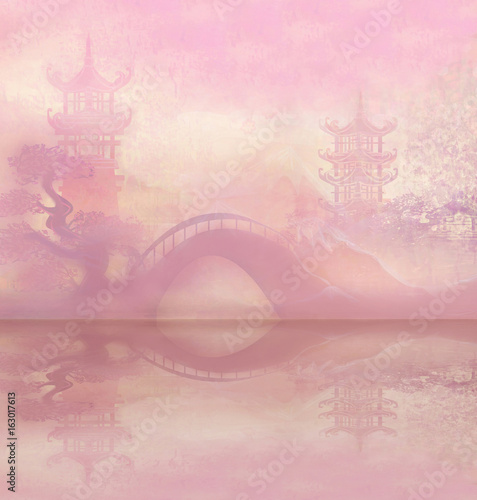 Foto op Aluminium Lichtroze Abstract Asian temple Landscape
