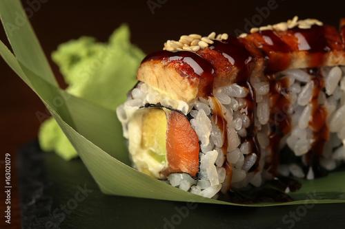 Sushi on black background. Close up