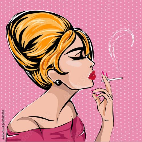 Retro fashion woman smoking cigarette. Blonde lady profile portrait on pink background, vintage style vector