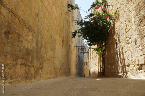 A typical street in Mdina, Malta also known as