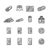 wood line icon set