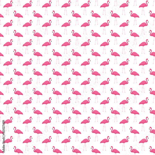 Pink flamingo seamless pattern. Summer tropical endless background, repeating texture. Vector illustration