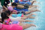 Fototapety kid learning to swim in swimming pool class