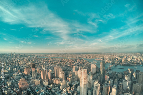 Urban skyline of Manhattan aerial view