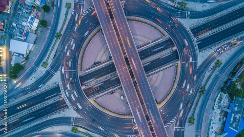Aerial view interchange of Bangkok City, Shot from drone, Expressway, Motorway, Highway is an important infrastructure in Thailand. - 163036627