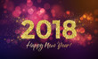 2018 Happy New Year Background texture with glitter fireworks. Vector gold glittering text and numbers.