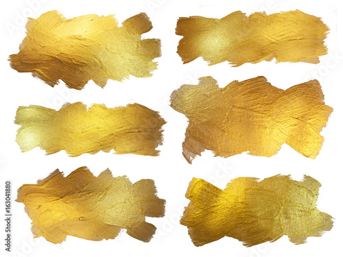 Gold Watercolor Texture Paint Stain Abstract Illustration. Shining Brush Stroke Set for you Amazing Design Project. White background.