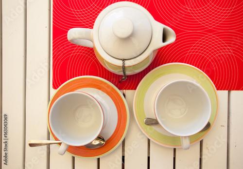 Stampa su Tela fruit Black tea is brewed in a teapot