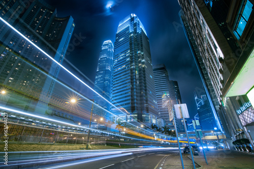Foto op Aluminium Toronto Vehicle light trail of Hong Kong at night