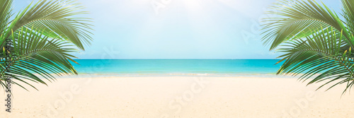 Sunny tropical beach panorama, turquoise Caribbean sea with palm trees - 163049420