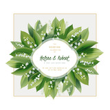 Spring floral greeting card. Wedding invitation. Lily of the valley flowers and leaves - hand drawn vector illustration.