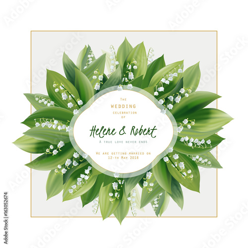 Fototapeta Spring floral greeting card. Wedding invitation. Lily of the valley flowers and leaves - hand drawn vector illustration.