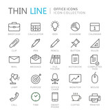 Collection of office thin line icons - 163053429