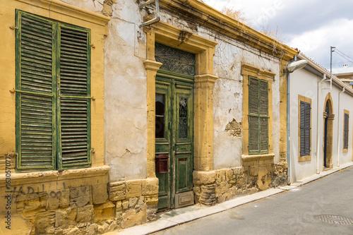 Old building facade in the center of Nicosia, Cyprus