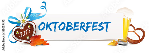 Oktoberfest 2017 -  Banner mit Lebkuchen Herz, Schleife, Bier, Brezel und Herbstblätter
