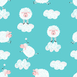 Cute sheep and clouds seamless pattern. Vector background. - 163068468