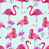 Background of pink flamingos. Seamless pattern.