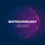 Abstract biotechnology cell. Particle grid. Organic structure. futuristic infographic background - 163074251