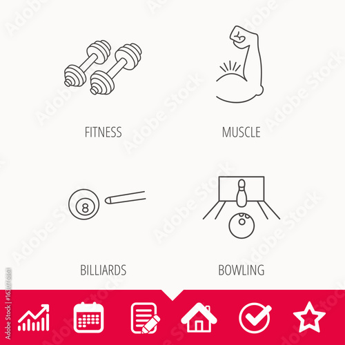 Billiards, bowling and fitness sport icons. Muscle linear sign. Edit document, Calendar and Graph chart signs. Star, Check and House web icons. Vector
