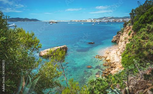 Staande foto Blauw rocky coast Balearic Island, Ibiza, Figueretas, Los Molinos,