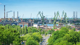 Panoramic landscape on old Gdansk shipyard - 163088415
