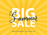 Fototapety Big Summer Sale sign with retro pop art halftone background. Vector web banner template illustration