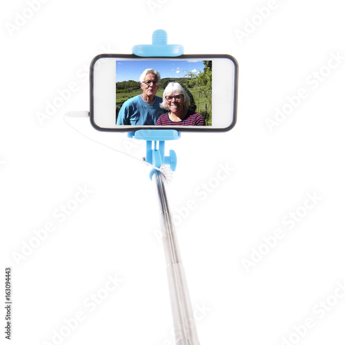 Selfie from eldery couple