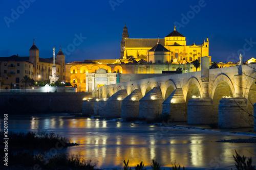 Cordoba and Roman bridge in night time