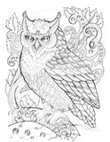 Eagle owl on a branch, patterns, flowers, tattoo - 163102607