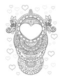 Invitation, greeting card with a heart, ornament and mandalas - 163102638