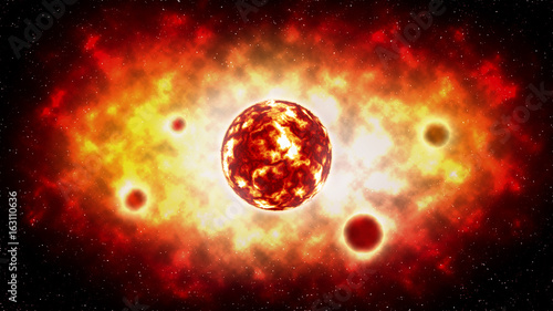 The sun explosion and planet on space . illustration .