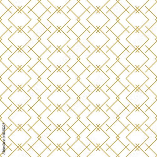 Fototapeta Stylish linear geometric seamless vector pattern in gold