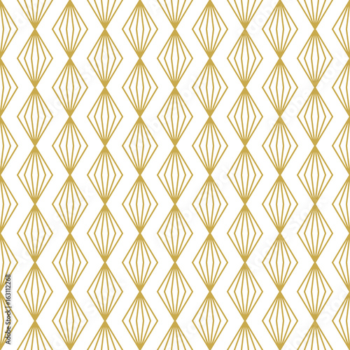 Seamless geometric vector pattern with linear gold rhombuses