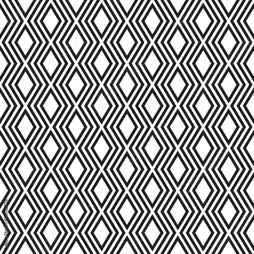 Elegant black and white rows of rhombuses, seamless vector pattern. - 163112278