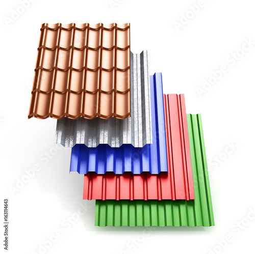 Stack Of Different Types Metal Roof Coating 3d