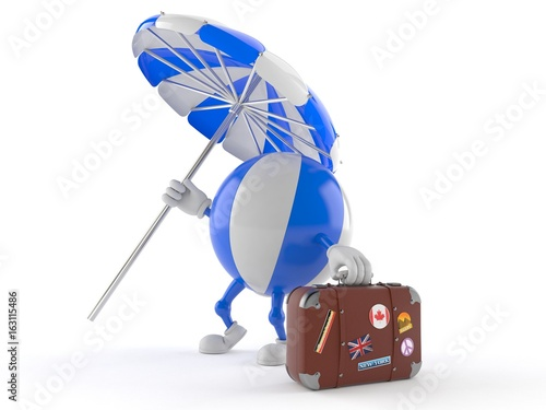 Beach ball character with luggage