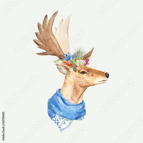Watercolor deer vector portrait - 163119640