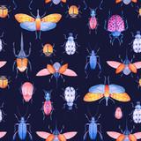 Watercolor beetle vector pattern