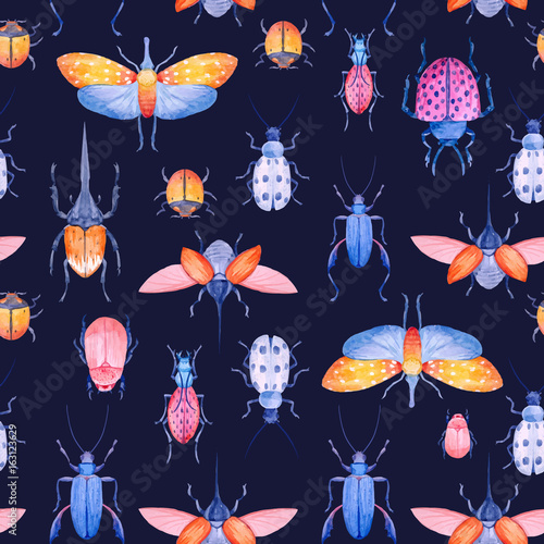 Cotton fabric Watercolor beetle vector pattern