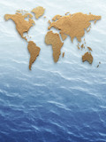 World map sand background