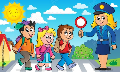 Pupils and policewoman image 2