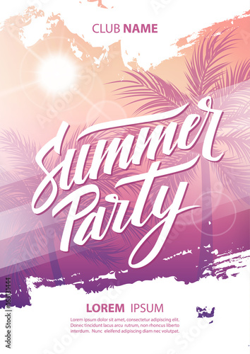 Summer party poster with hand drawn lettering, palm trees and sun. Vector illustration.