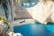 Quadro Famous Navajio beach on Zakynthos, Greece.